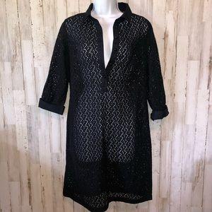 Talbots Black Crotchet Beach Shirt Cover Up Dress
